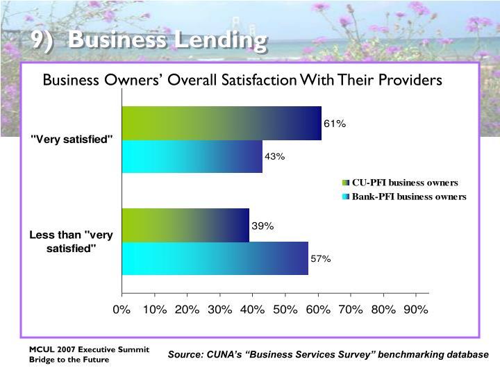9)  Business Lending