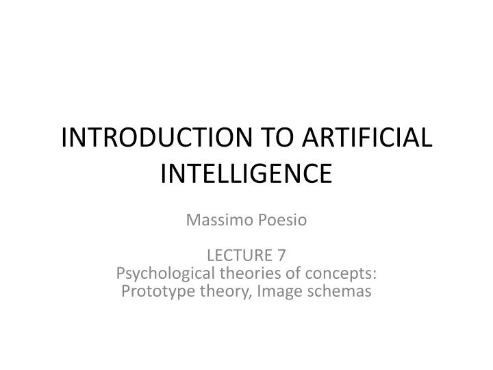 introduction to artificial intelligence n.
