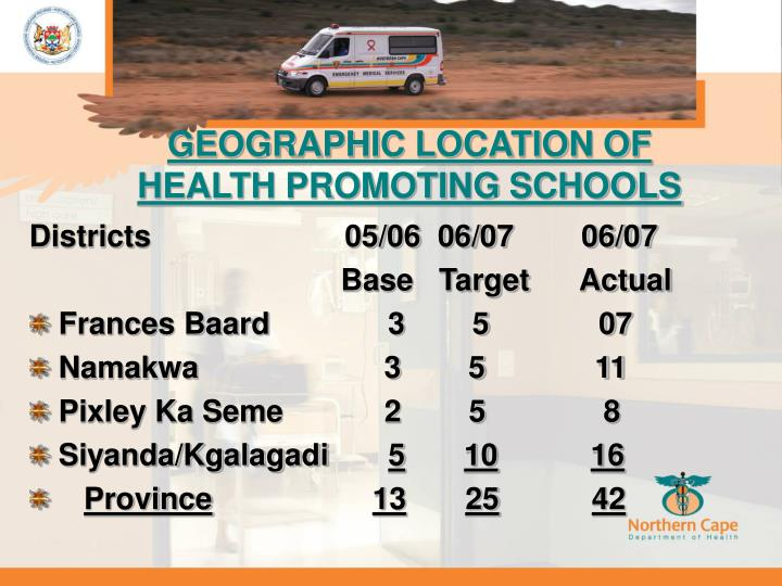 GEOGRAPHIC LOCATION OF HEALTH PROMOTING SCHOOLS