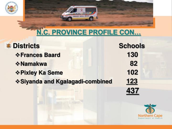 N.C. PROVINCE PROFILE CON…