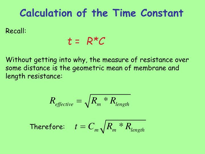 Calculation of the Time Constant