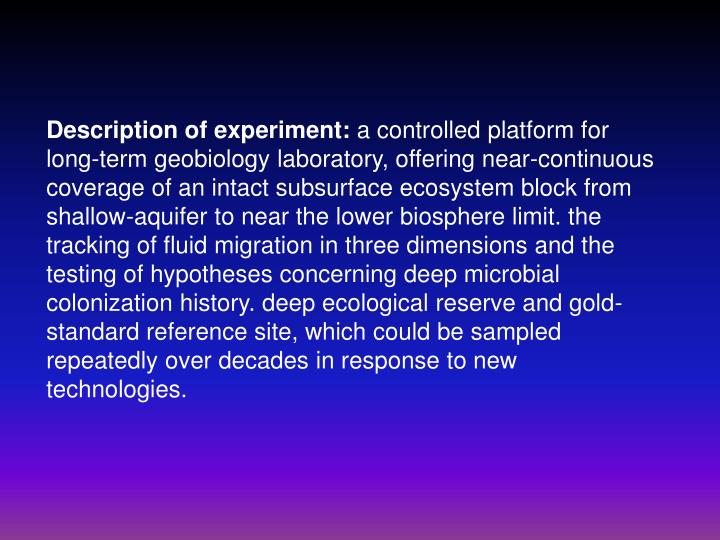 Description of experiment: