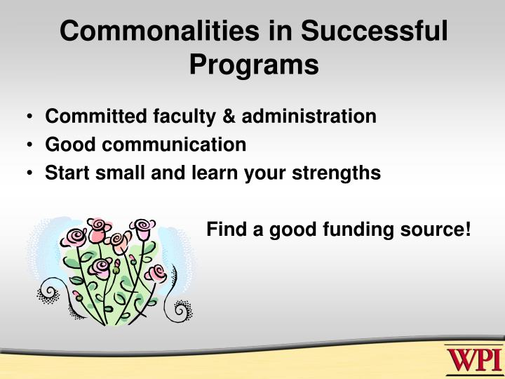 Commonalities in successful programs