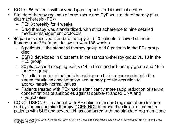 RCT of 86 patients with severe lupus nephritis in 14 medical centers