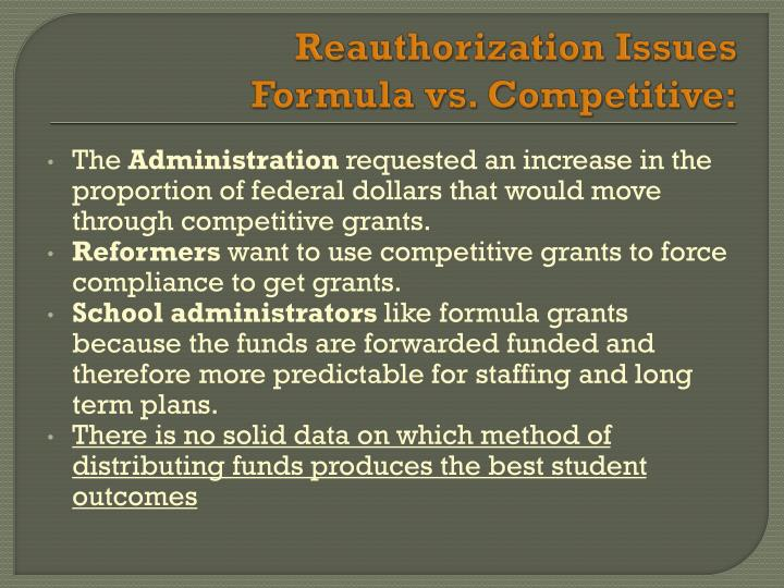 Reauthorization Issues