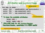 attributes and python loops