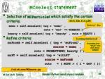 mcselect statement