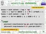 select loop statements