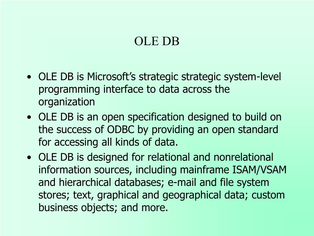 PPT - Universal Data Access and OLE DB PowerPoint