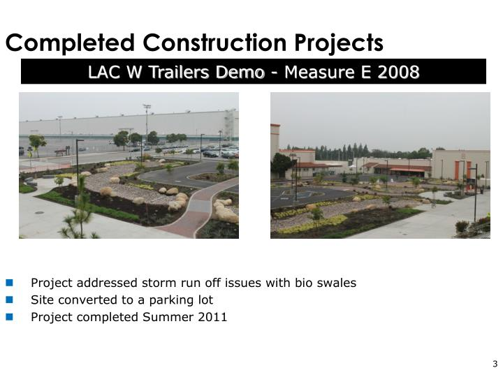 Completed construction projects