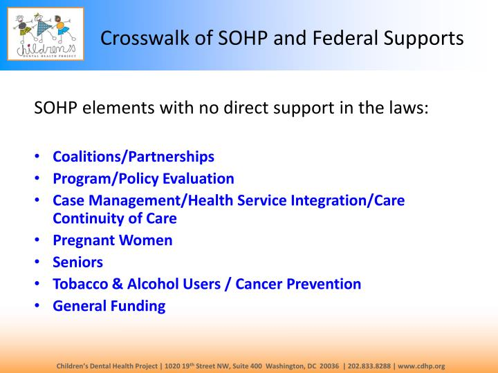 Crosswalk of SOHP and Federal Supports
