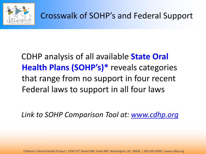 Crosswalk of sohp s and federal support