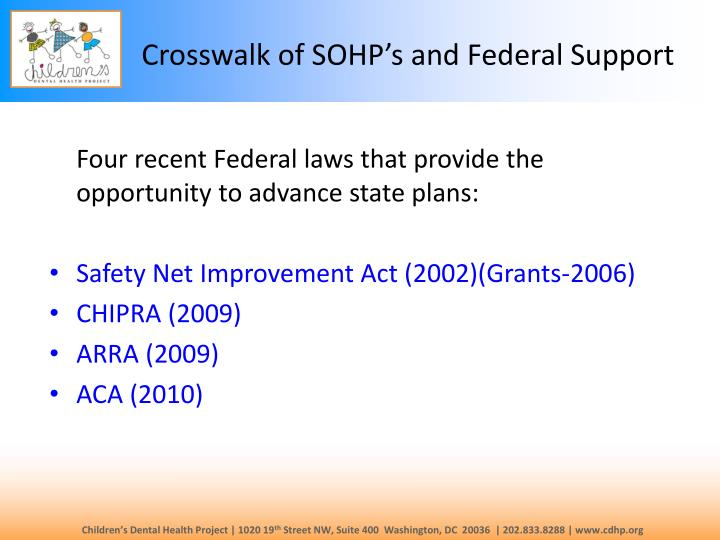 Crosswalk of sohp s and federal support1