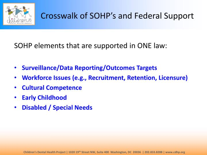 Crosswalk of SOHP's and Federal Support