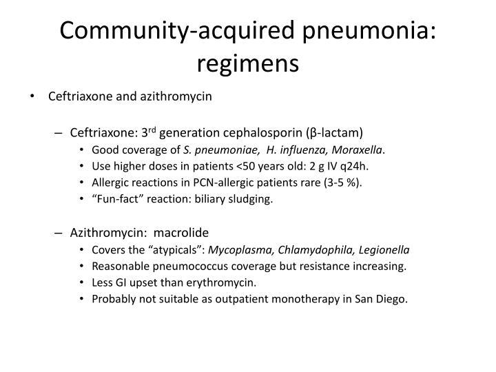 Community-acquired pneumonia: regimens