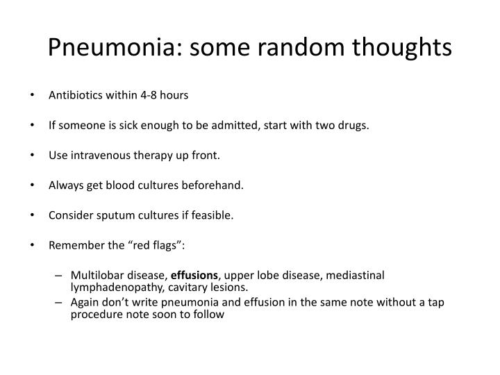 Pneumonia: some random thoughts
