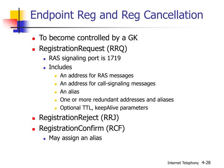 Endpoint Reg and Reg Cancellation