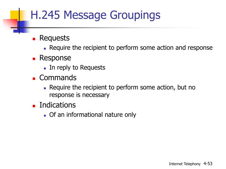 H.245 Message Groupings