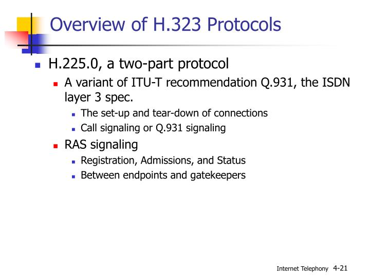 Overview of H.323 Protocols