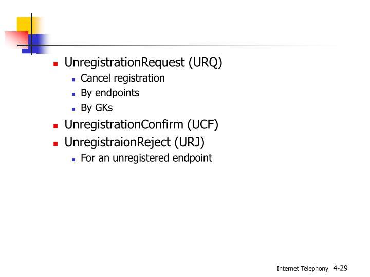 UnregistrationRequest (URQ)