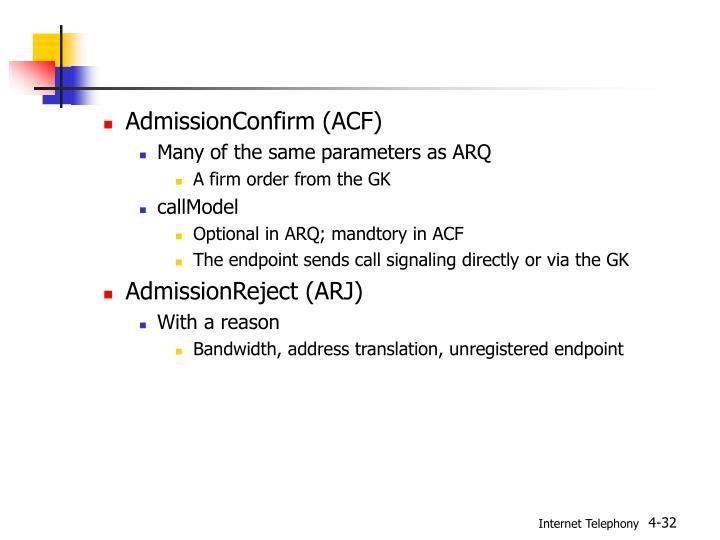 AdmissionConfirm (ACF)