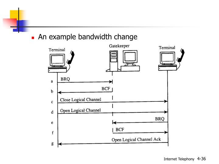 An example bandwidth change