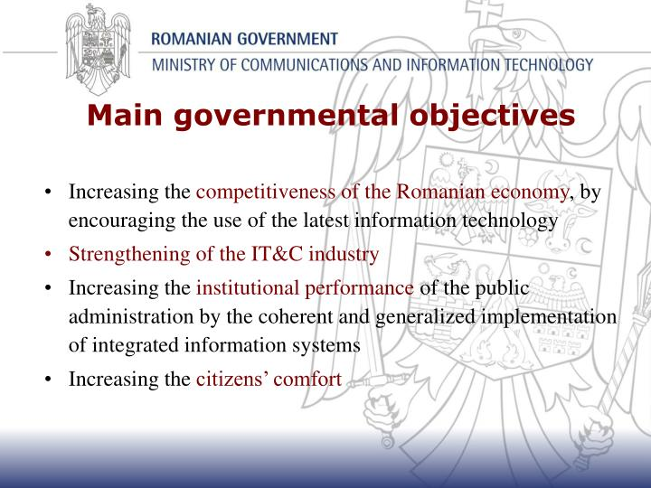 Main governmental objectives