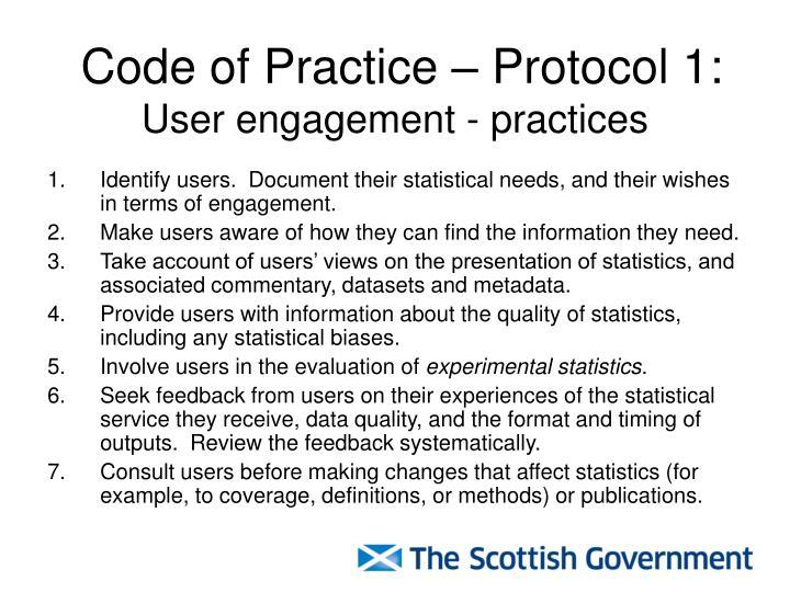 Code of Practice – Protocol 1: