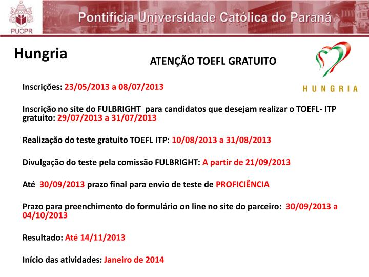 ATENÇÃO TOEFL GRATUITO