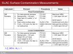 slac surface contamination measurements