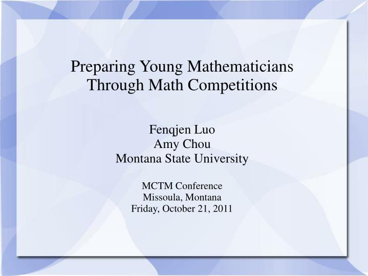 Preparing Young Mathematicians
