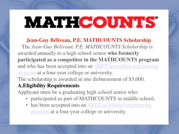Jean-Guy Béliveau, P.E. MATHCOUNTS Scholarship
