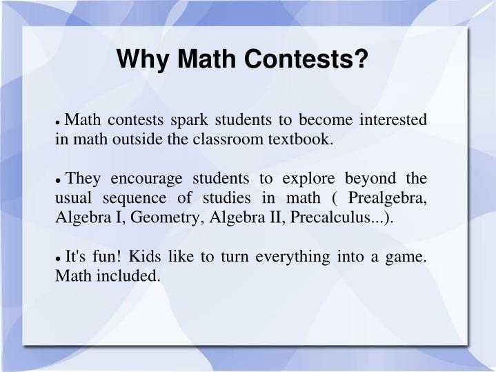 Why math contests