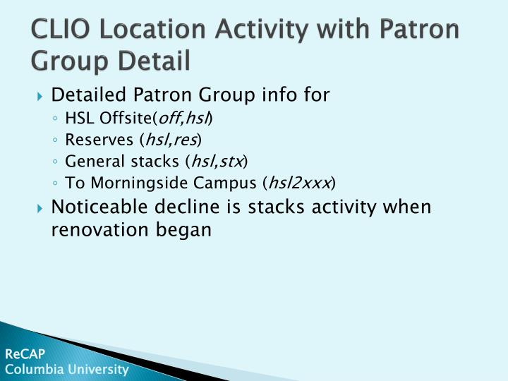 CLIO Location Activity with Patron