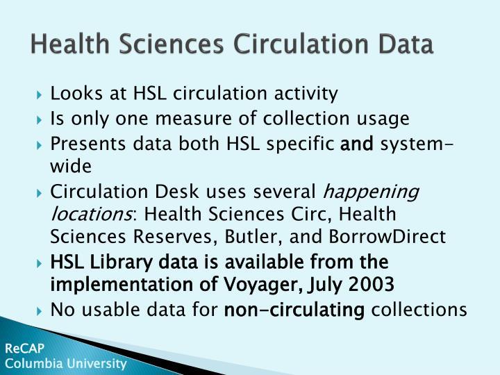 Health sciences circulation data