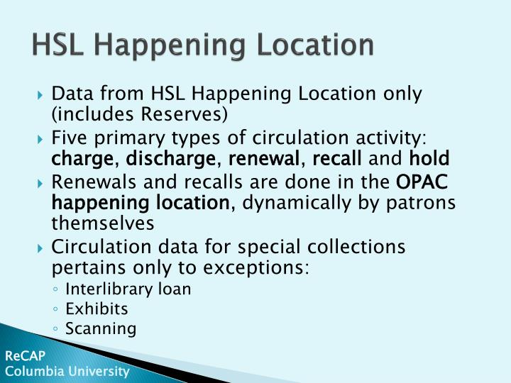 Hsl happening location