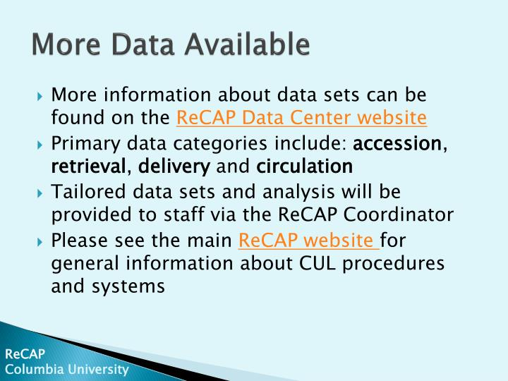 More Data Available