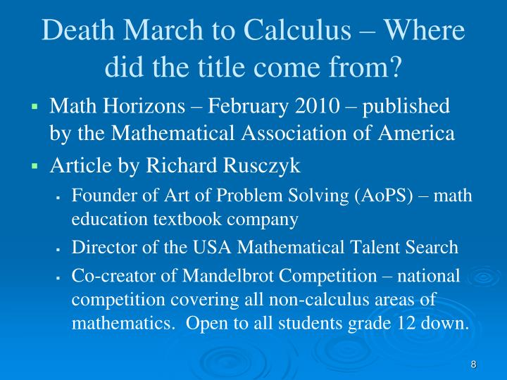 Death March to Calculus – Where did the title come from?