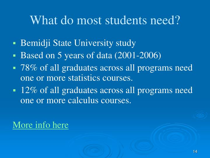 What do most students need?