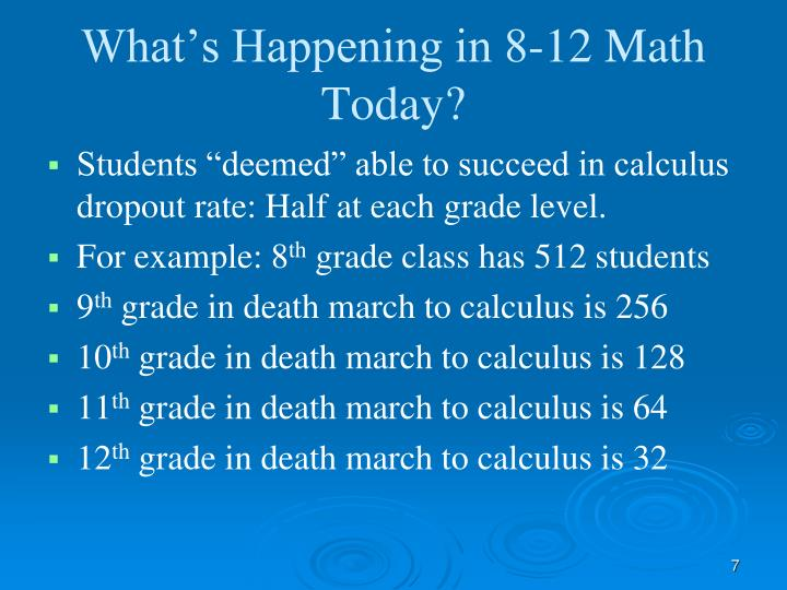 What's Happening in 8-12 Math Today?