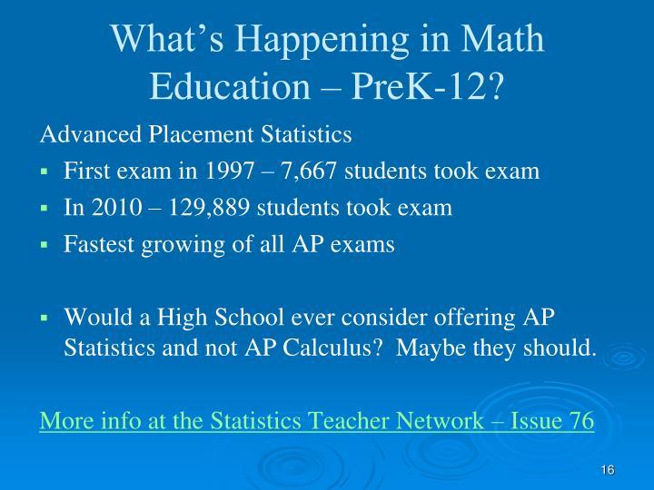 What's Happening in Math Education – PreK-12?