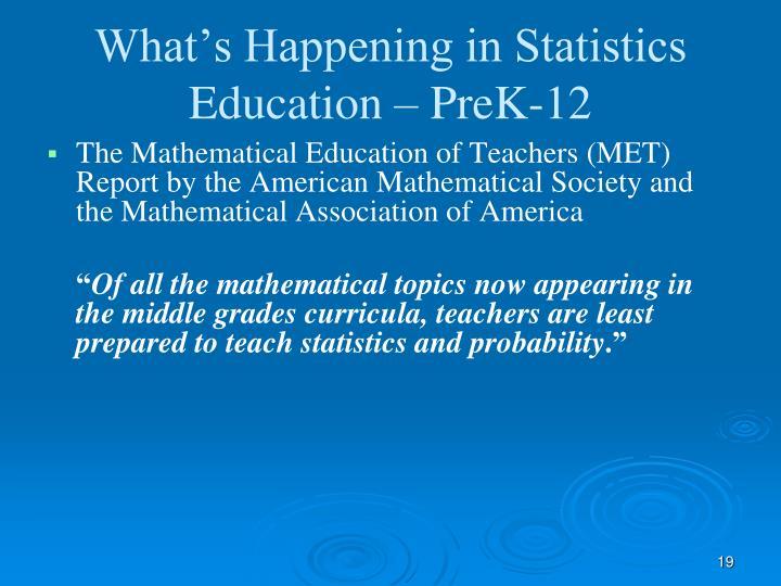 What's Happening in Statistics Education – PreK-12