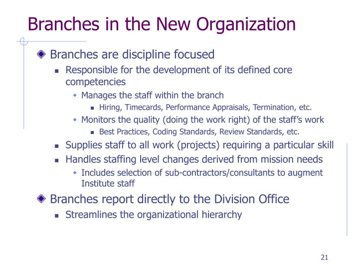 Branches in the New Organization