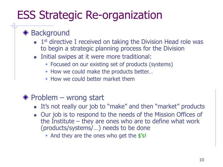 ESS Strategic Re-organization