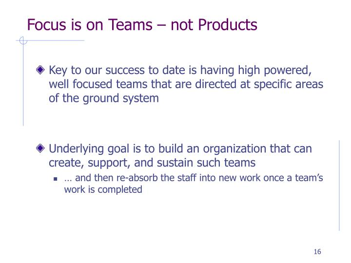 Focus is on Teams – not Products
