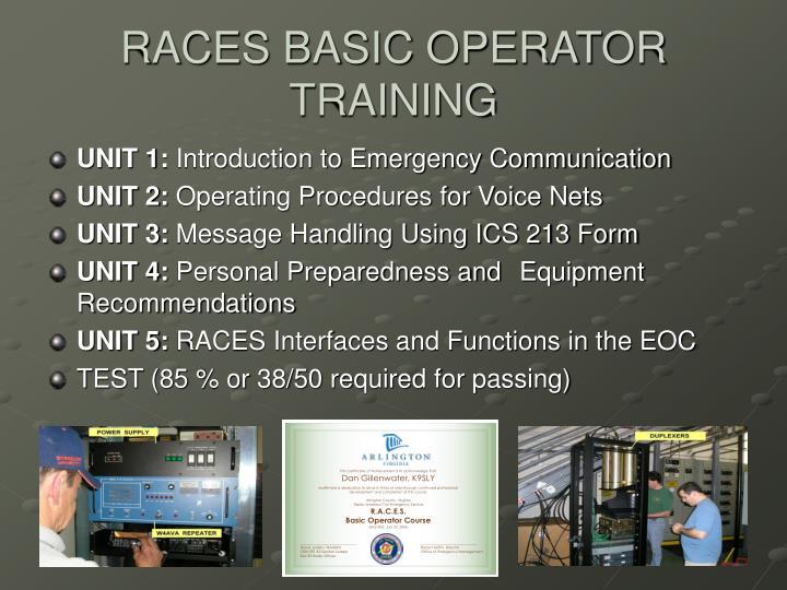 RACES BASIC OPERATOR TRAINING
