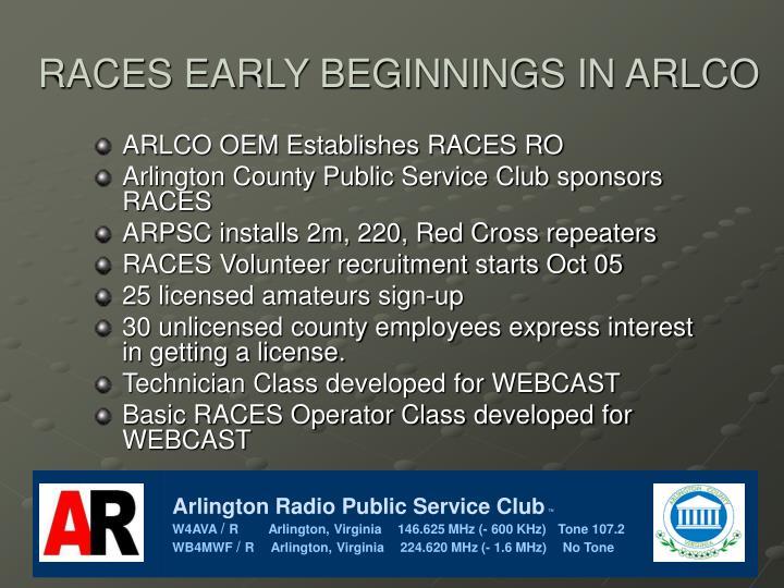 RACES EARLY BEGINNINGS IN ARLCO