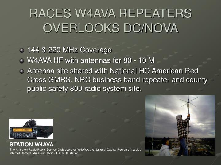 RACES W4AVA REPEATERS OVERLOOKS DC/NOVA