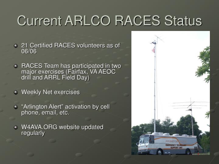 Current ARLCO RACES Status
