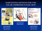 harvesting options for the solar corridor floor crop